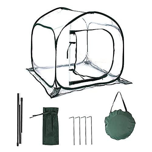 Invernadero pequeño pequeño para planta, 31 x 31 x 31 pulgadas, transparente, portátil, invernadero de cultivo con 4 puertas de clavo de tierra con cierre de cremallera, invernaderos para plantas