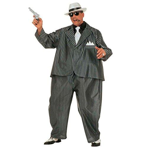 NET TOYS Gangster Mafia Fett Kostüm Al Capone Fat Suit Kostüm Ganove Gangsterkostüm Ganovenkostüm Fettkostüm Fasching Karneval M-L 48/52