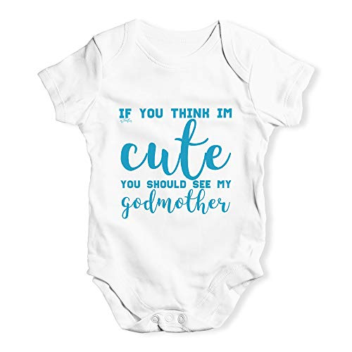 Twisted Envy Funny Baby Grow Onesie If You Think I'm Cute See My Godmother White 3-6 Months