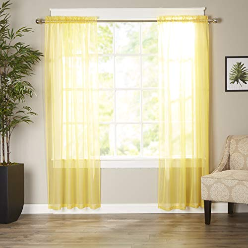 Elegant Comfort Luxury Sheer Curtains, Window Treatment Curtain Panels with Rod Pocket for Kitchen, Bedroom and Living Room (40 x 84-inches Long, Set of 2), Neon Yellow