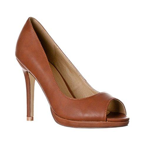 Riverberry Women's Julia Slight Platform Open Toe High Heel Pumps, Brown PU, 7 Brown Peep Toe Pump
