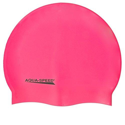 Aqua Speed Schwimmhaube Damen | Badekappe Frauen Mädchen | Schwimmkappe Super-Stretch | Badehaube extrem elastisch | Schwimmmütze wasserdicht | Silicone Swimming Cap Women | pink 03 | Mega