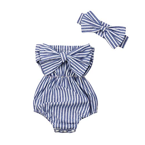 QPA Neugeborene Kinder Baby Mädchen Strampler Off Shoulder Striped Jumpsuit Bodysuit mit Schleife Stirnband 2Pcs Outfits Set (Blue, 0-6 Months)