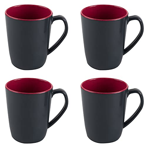 Melamin Geschirr 4 Becher 350 ml ideal für Camping - Schwarz-Rot