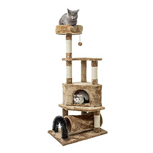 MEWANG Stabiler Kratzbaum mit Katzennapf, Sisal umwickelte Kratzstellen, Korb und Höhle, Katzentunnel, gewölbte Katzenbürsten, Kletterbaum für Katzen 134 cm Groß