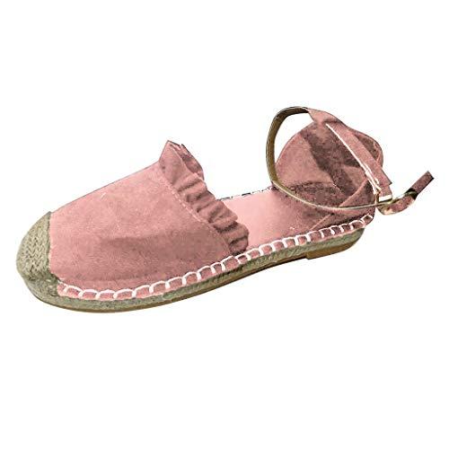 Dames espadrilles met open hiel, retro slingback pomp platte casual schoenen stro, linnen gesp ruche pompt de schoenen van de vrouwen By Vovotrade