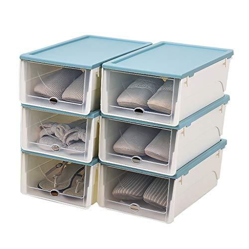 Zapatero Tipo de cajón Caja apilable de plástico for zapatos Caja de almacenamiento y clasificación de calzado portátil Puerta transparente Juego de 6 piezas Estante para Zapatos ( Color : Blue )