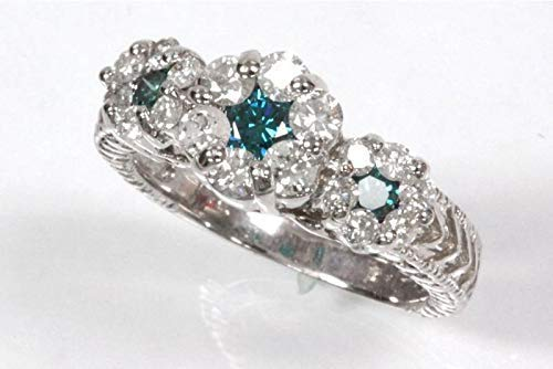 1.1 ct tw Max 90% OFF Natural Blue White Gold Diamond Solid 3 excellence 14k Cl
