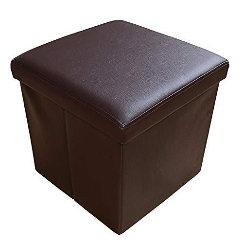 ODT Stylehome® Sitzbank Sitzhocker Aufbewahrungsbox mit Stauraum Faltbar belastbar bis 300 kg Kunstleder 38 x 38 x 38 cm (Braun)