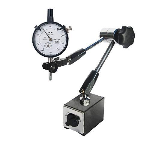 STEINLE Magnet Messstativ Zentralklemmung inkl. Mitutoyo Messuhr im SET Messbereich 10/0,01 mm