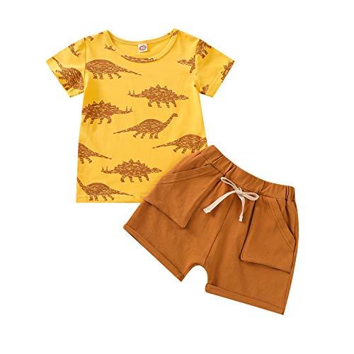 2 Habitaciones Conjunto Casual bebé niño Conjunto de Estampado de patrón de Dinosaurio Top de Manga Corta + Shorts Cortos con Bolsillos para de 1 a 4 años Playa de Verano (Amarillo, 18-24 Meses)