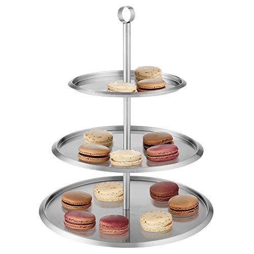 mDesign Base para tartas redonda de acero cepillado – Expositor de tartas moderno con 3 pisos – Bandeja para pasteles, cupcakes, galletas, fruta y tapas – plateado