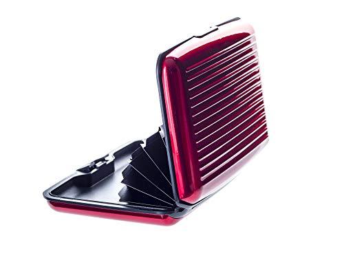 VALLET® Kreditkartenetui aus Aluminium - für Damen und Herren - blockiert RFID und NFC – für Kreditkarten Personalausweis EC-Karten - Kartenetui Kartenhülle Karten Portemonnaie Etuis – rot