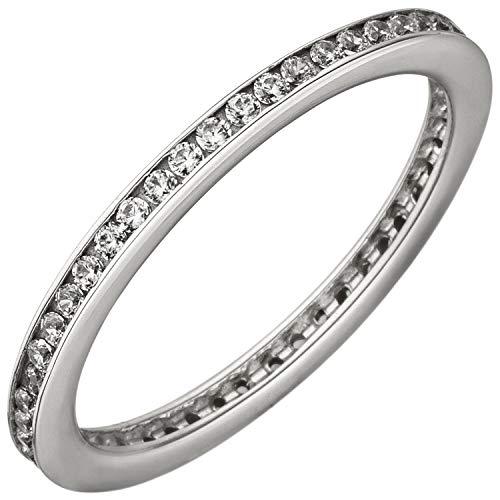 JOBO Damen-Ring aus 925 Silber mit Zirkonia rundum Größe 56