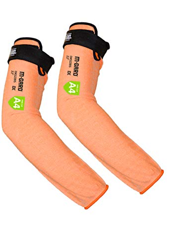 MAGID Cut Resistant Protective Arm Sleeves with Thumb Slot, 1 Pair, Orange I Thumbslot: No, 18'