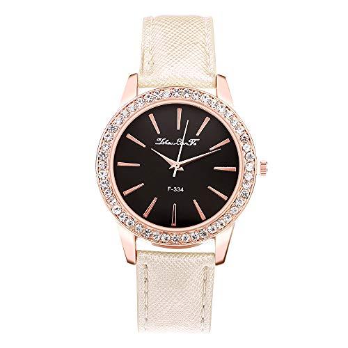 Souarts Damen Armbanduhr Quartzuhr Analog Strass Deko PU Leder Armband Uhr mit Batterie