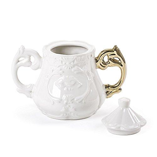 SELETTI Zuccheriera in Porcellana Ø Cm.13 H.15 I-Wares Manico Oro