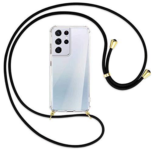 mtb more energy Collar Smartphone para Samsung Galaxy S21 Ultra 5G (SM-G998, 6.8'') - Negro/Oro - Funda Protectora ponible - Carcasa Anti Shock con Cuerda Correa