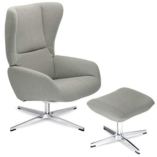 mokebo® Premium Sessel 'Der Chefsessel' mit Hocker, Relaxsessel, hochwertiger Ohrensessel & Fernsehsessel, Webstoff in Beige -009, Sessel + Hocker | Gestell in Chrom 31
