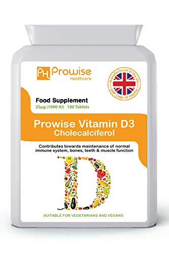 Vitamina D 1000iu 180 Tabletas - 3 MESES DE DOSIFICACIÓN GMP UK Fabricado, vitamina D3 y D2, suplementos vitamínicos - Reino Unido Fabricado al más alto nivel