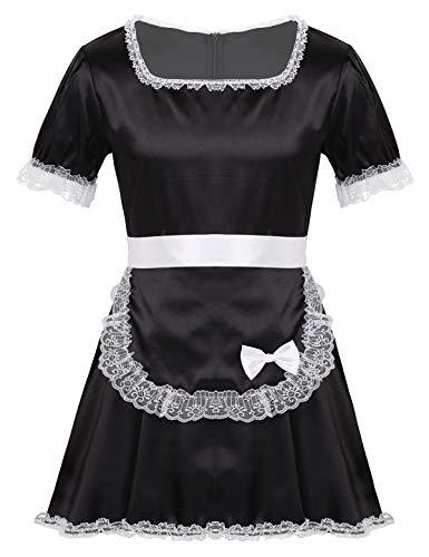 inlzdz Herren Sissy Kleider Dienstmädchen Kostüm Maid Cosplay Nachthemd Dessous Crossdresser Nachtkleid mit Schürze Schlafanzug Nachtwäsche Schwarz Medium