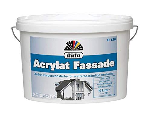 Düfa D136 Acrylat Fassadenfarbe 10l weiss | Außendispersionsfarbe | Wetterbeständige Fassadenbeschichtung