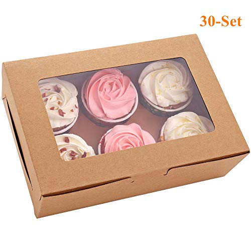 Cupcake Boxes with Insert and Window, 30-count