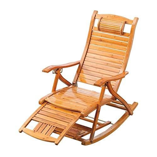 HIZLJJ Silla de balcón Plegable de Madera Balcón Bambú Sillón Sillas de Espalda Ajustable con reposacabezas y Masaje para pies Tumbonas al Aire Libre Tumbonas Old Man Siesta Silla