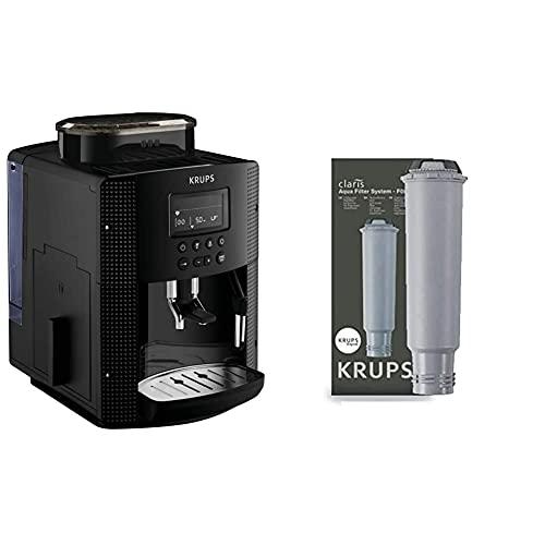 Krups Pisa EA81P0 Cafetera súper automática, 15 bares, molinillo café cónico de metal + F08801 Filtro de Agua para cafeteras Claris, con iones y carbón activado de plata