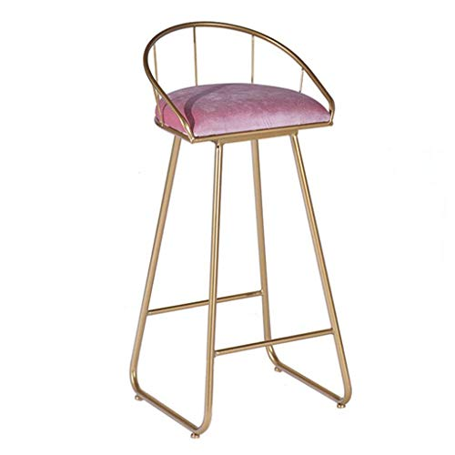 JIAYIBAO Bar Stool Living Room Furniture Stool Stylish Solid Metal Frame Stool with Pink Upholstered Seat - Bar Height - Modern Gold Leg Bar Stool Dining Chair