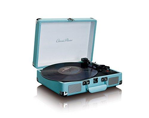 Phono TT-11 platenspeler van leer, vinyl, met geïntegreerde stereo-luidsprekers en Bluetooth-weergave blauw