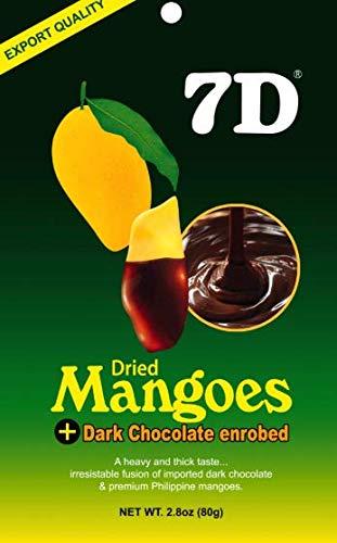 7D Dried Mangoes Dark Chocolate enrobed - 2.8oz (80g) bag
