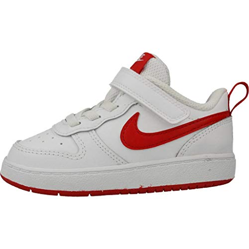 Nike Court Borough Low 2, Scarpe da Basket per Bambini Unisex-Bimbi 0-24, Bianco/Rosso università, 21 EU