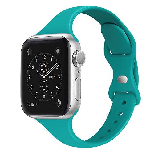 Pulseira esportiva STG compatível com Apple Watch 38 mm, 40 mm, 42 mm, 44 mm, silicone macio, fino, estreito, correia de reposição compatível com iWatch Series 5/4/3/2/1, 38/40mm, Teal