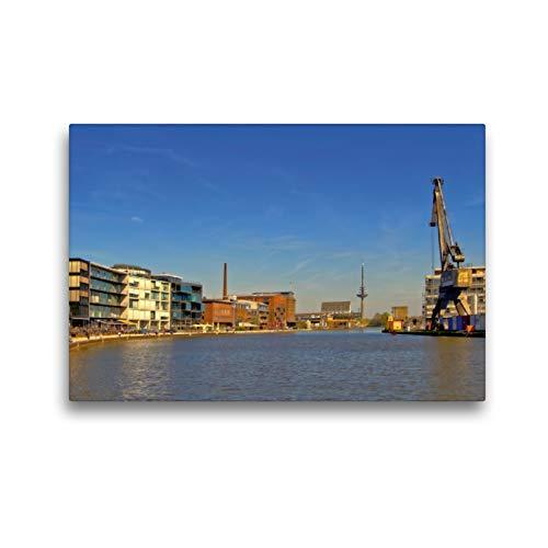 CALVENDO Premium Textil-Leinwand 45 x 30 cm Quer-Format Münster - EIN Mischung aus Kunst, Kultur, Restaurants und Szeneclubs Machen den Reiz des Stadthafens aus,...