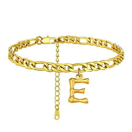 PROSTEEL Tobillera Pulsera Oro Baño con Letra E, 22cm+5cm Tobillera Ajustable