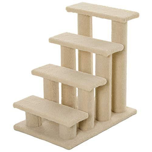 Pawhut Tiertreppe Katzentreppe Hundetreppe Treppe für Katze und Hunde 4 Stufen Beige/Grau 63,5x43x60cm