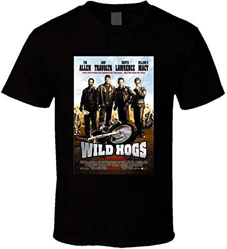 Wild Hogs Men's Movie Poster Short Sleeve Print Vintage T-Shirt,Black,Small