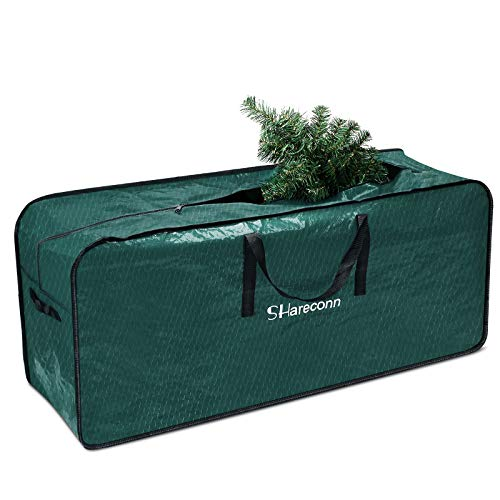 SHareconn Christmas Tree Storage Bag, Strong & Durable High Grade Waterproof Storage Bag, Ideal for Up to 7.5 Ft Tall Xmas Trees and other Christmas Decorations, Green