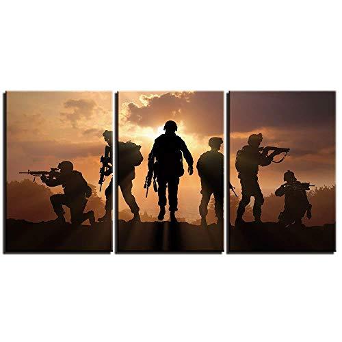 QUANQUAN 3 Paneles de Pintura de Pared Impresiones sobre Lienzo, 3 Piezas Lienzo Pintura,Ejército patriótico de EE. UU. Decoracion de Pared 3 Piezas Modernos Mural Fotos,Decoración para El Hogar