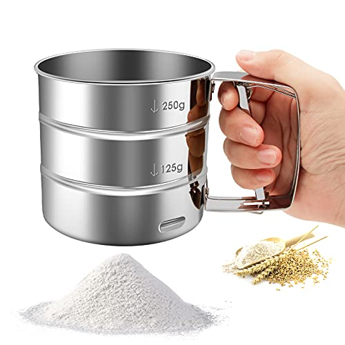 Flour Sifter-Stainless Steel Hand Held Flour Sifter,Flour Shaker Cup for Home Kitchen with Hand Press, Large Capacity Baking Sieve Cup for Icing Sugar Cake Flour(Silver)