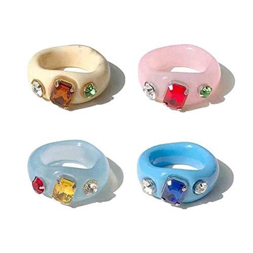 Anillo de dedo de resina, anillo de diamante de resina retro, anillo de dedo de resina vintage para mujer, anillo de bodas para parejas, el mejor anillo de dedo, regalo de joyería para niñas, 4 piezas