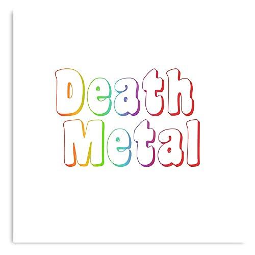 Genérico Funny Meme Pride Heavy Rainbow Death Memes Font Metal – Póster moderno para sala de decoración de pared