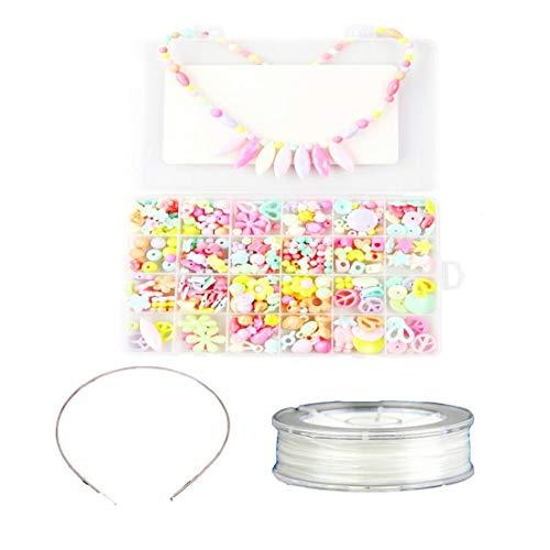 tJexePYK DIY Perlas Conjunto de joyería Collar Pulsera Kits Hacer Manualidades con Cuentas Juguetes educativos con la Caja y la Bobina para Muchachas 450pcs Kid (Primavera)