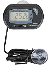 Cikonielf Termómetro digital LCD para acuario, termómetros de agua para tanque de peces, termómetros de reptiles, medidor de temperatura con ventosa y sonda