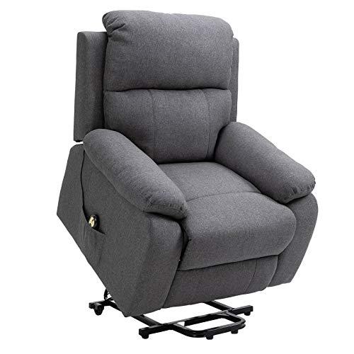 CARO-Möbel Relaxsessel AMELO mit elektrischer Aufstehhilfe, bequemer Fernsehsessel mit grauem Stoffbezug und Fernbedienung