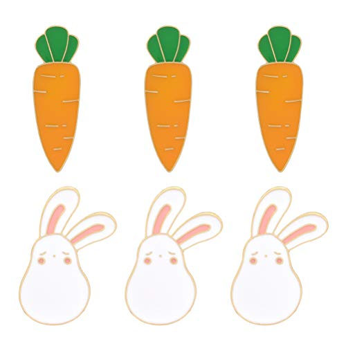 PRETYZOOM 6pcs Easter Breastpin Rabbit Brooches Carrot Lapel Pins Accessary Brooch Gift Easter Costume Dress Up Props Decor Party Supplies