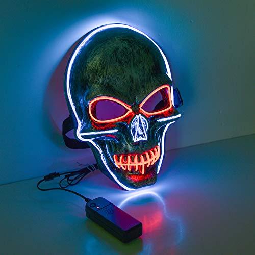 Charlemain Halloween Maske LED, Totenkopfmaske,harmlose LED Maske mit 3 Blitzmodi für Halloween, Fasching, Karneval, Party, Kostüm Cosplay, Halloween Kostürm Zubehörer für Erwachsene