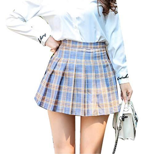 WEDFGX Damen Faltenrock Plaid Hohe Taille Ultrakurzer Minirock Neuer Sommer Pink Blue Sweet Slim Rock