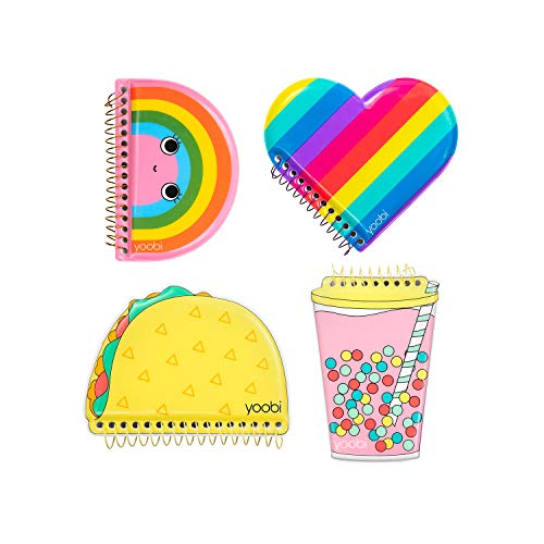 Yoobi | Mini Spiral Notebooks for Kids | 4 Pack Includes Puffy Covers in Taco, Heart, Rainbow, Boba | 80 Pages in Each | PVC Free